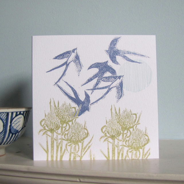 Summer Swallows Greetings Card
