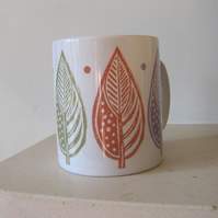 SALE - Orange Large Leaf Ceramic Mug