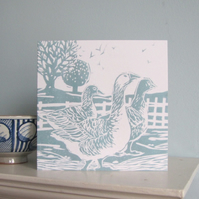 Three Geese Greetings Card