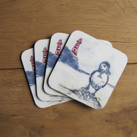 Patient Puffin Coaster Set 4