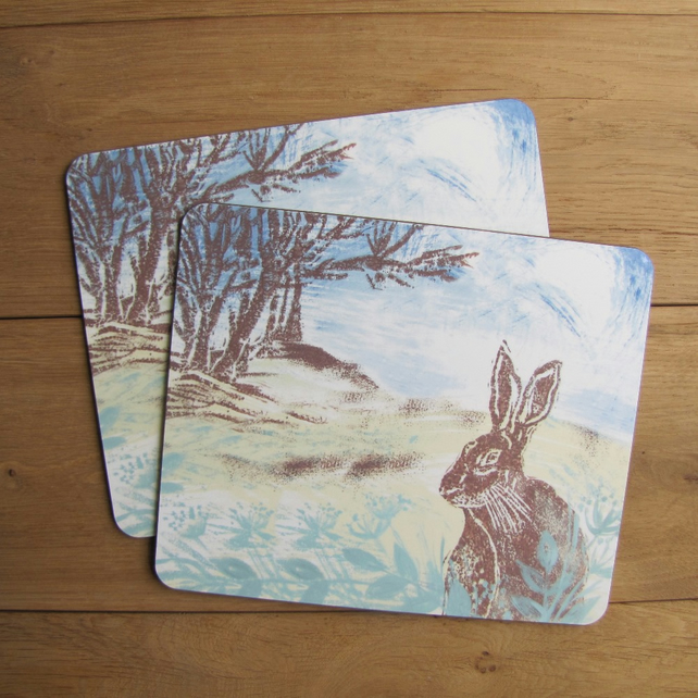 Woodland hare Placemats Set of 4