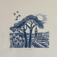 Summer Flight Lino Cut