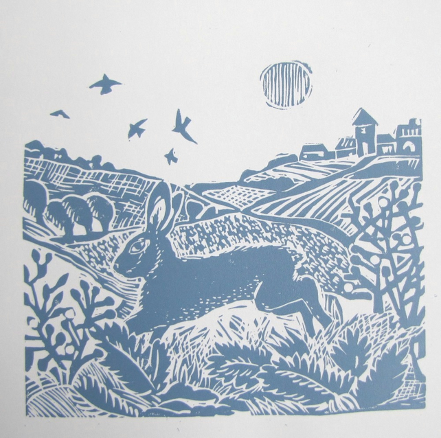 Country Hare Lino Cut