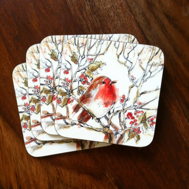 Mr Robin Coasters Set 4
