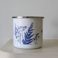 Blue Botanical Enamel Mug