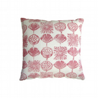 Gingko Leaf Linen Cushion Red
