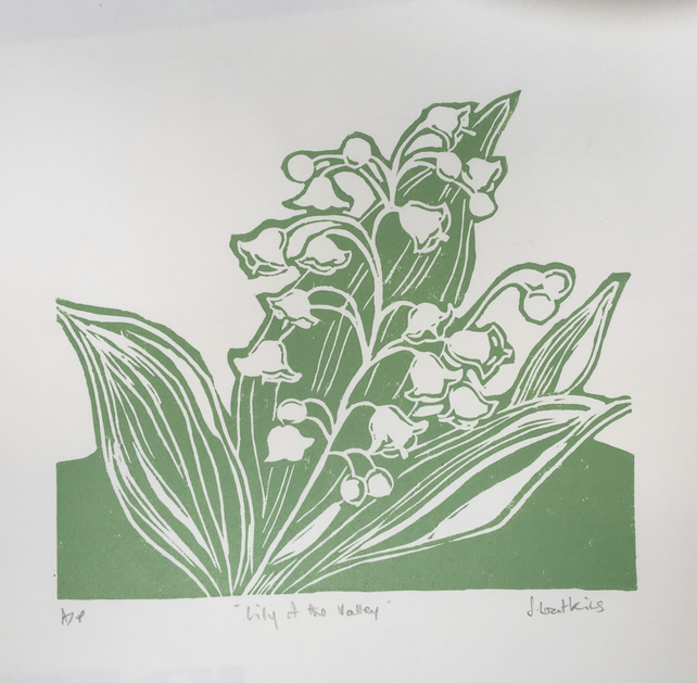 Lily of the Valley Lino Cut