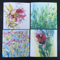 Floral Pack of 4 Cards