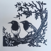 Magpies Linocut