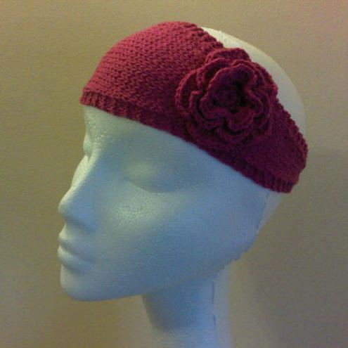 Raspberry headband with crocheted flower