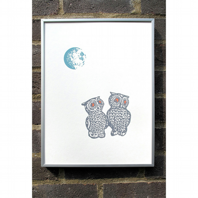 Screen Print - Moonlit Owls (hand pulled print)