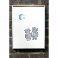 Moonlit Owls Screenprint