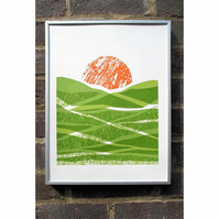 Screen Print - Green Fields (hand pulled print)