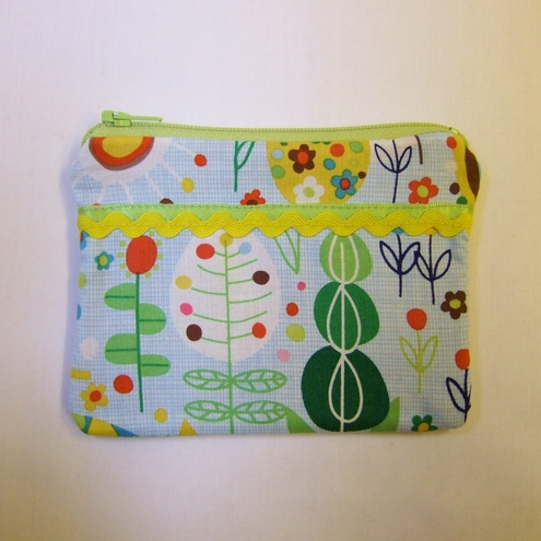 large coin purse with extra pocket - trees and flowers