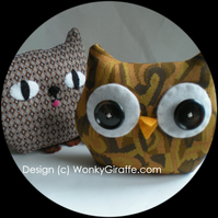 Owl Cat Monster Thing Sew a Softie,Complete Kit and Tutorial - WonkyGiraffe