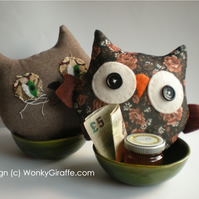 Owl and Pussy Cat -  Sew a Softie,    Complete Kit and Tutorial - WonkyGiraffe
