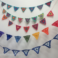 Lacy Crochet Rainbow Bunting Pattern by Email