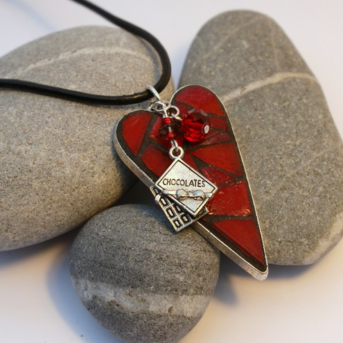Mosaic Heart Pendant Necklace - I Love Chocolate
