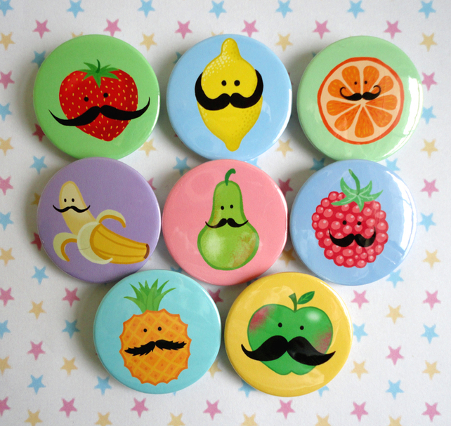 EIGHT FRUITY MOUSTACHE BADGES