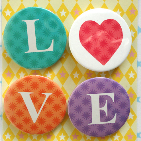 LOVE LETTERS COLOURFUL BUTTON MAGNETS