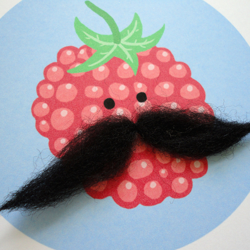 ONE FRUITY MOUSTACHE RASPBERRY GREETINGS CARD