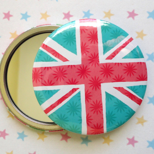ONE UNION JACK PATTERNED POCKET MIRROR - pink