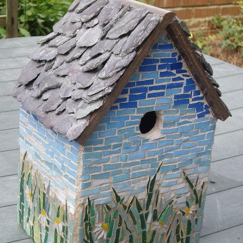 Mosaic bird house folksy for Mosaic tile for crafts