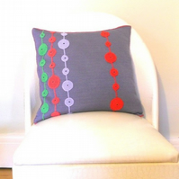 Knitted Cushion With Retro Pattern Applique