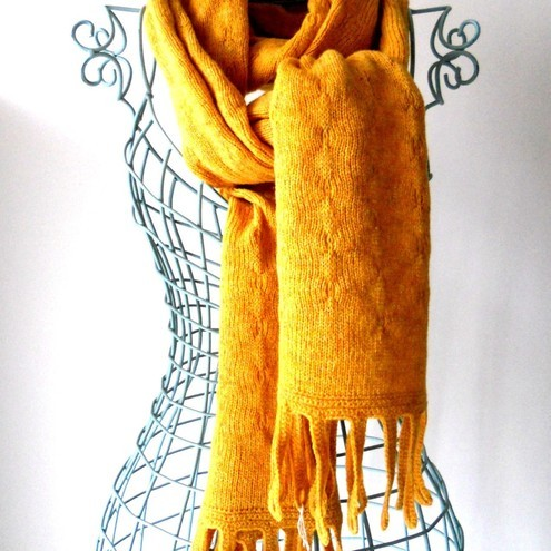 Scottish Lambswool Ochre Tassle Scarf - Made to order