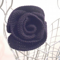 Navy Blue Rose Corsage Made in Merino Wool