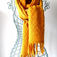 Scottish Lambswool Ochre Tassle Scarf