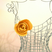 Ochre Yellow Rose Corsage Made in Scottish Lambswool