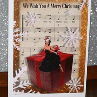 Christmas . Charity set of 5 'Silent Theatre' style Christmas cards