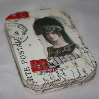 Decoupaged tin, notebook and pencil, with vintage lady theme.