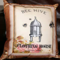 Cushion  Bumble Bee hive apiary Paris 1889 home decor