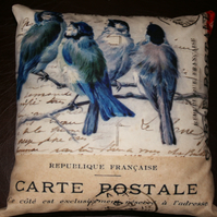 "SALE Cushion  garden bird Washable cushion  12x12""  Blue tit bird french text"