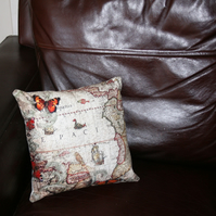 "SALE Washable cushion  12x12"" maps and butterflies"