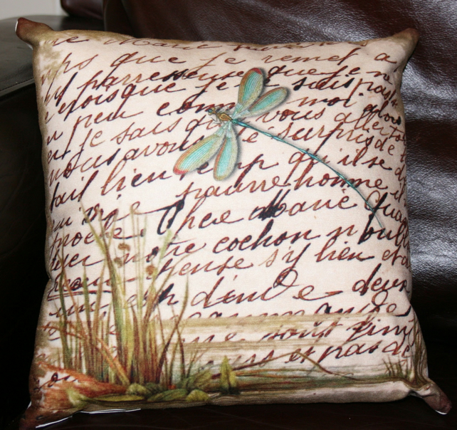 SALE  Cushion Dragonfly on the river beige teal home decor soft furnishings