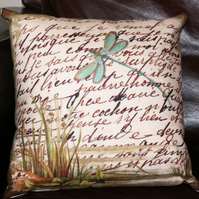 Cushion Dragonfly on the river beige teal home decor soft furnishings