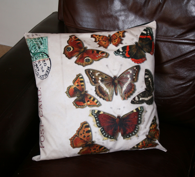 SALE Large  Butterfly vintage lepidoptery cushion  home decor