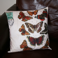 Cushion  Large  Butterfly vintage lepidoptery cushion  home decor