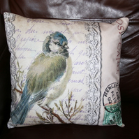 "SALE Cushion Garden bird Large Blue tit washable  Henley  18"" bird"