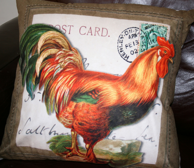 Large Rooster cushion  Cockerel chicken Farm Henley home decor