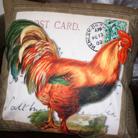 SALE Large Rooster cushion  Cockerel chicken Farm Henley home decor