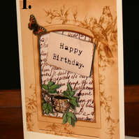 1x Pink Fairy or Bird nest birthday card