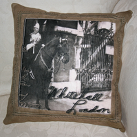 SALE Cushion Whitehall London Guard  with horse