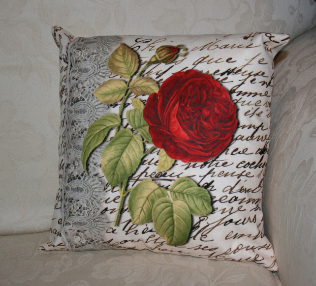 SALE Cushion  Red Flower botany  lace handwritten cushion one of a kind