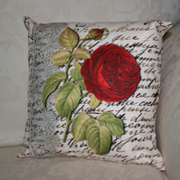 Cushion  Red Flower botany  lace handwritten cushion one of a kind