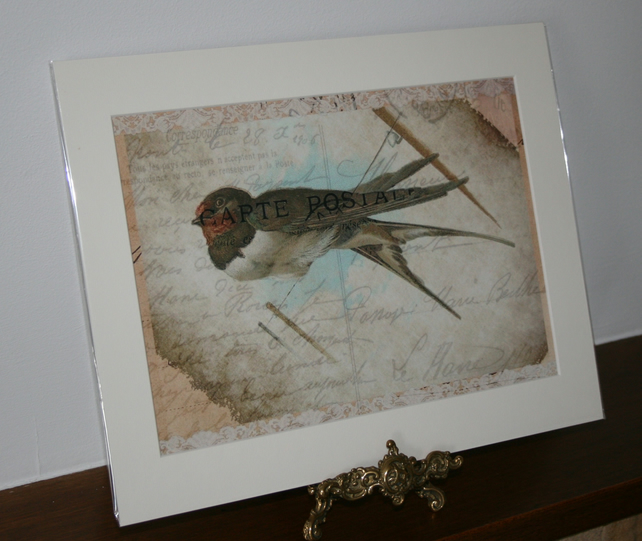 sale Bird, Swallow on a wire lace shabby chic print