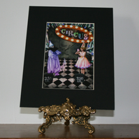 Circus clown weightlifting act small art print